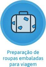 Preparação de roupas embaladas para viagem